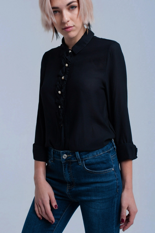 Camisa negra con botones