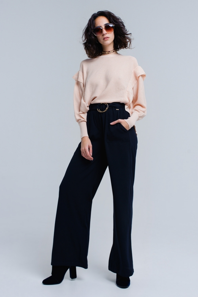 Pantalones azul marino con hebillas