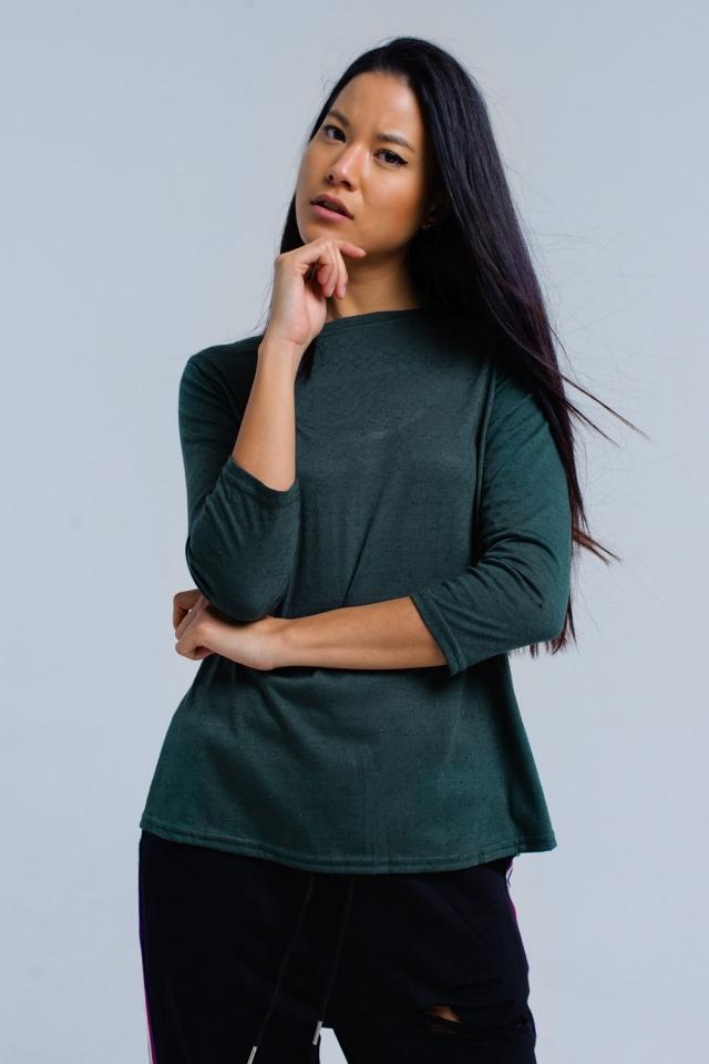 Camisa verde con correa elástica