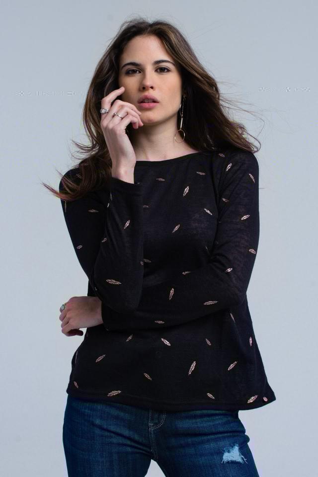 Jersey negro estampado