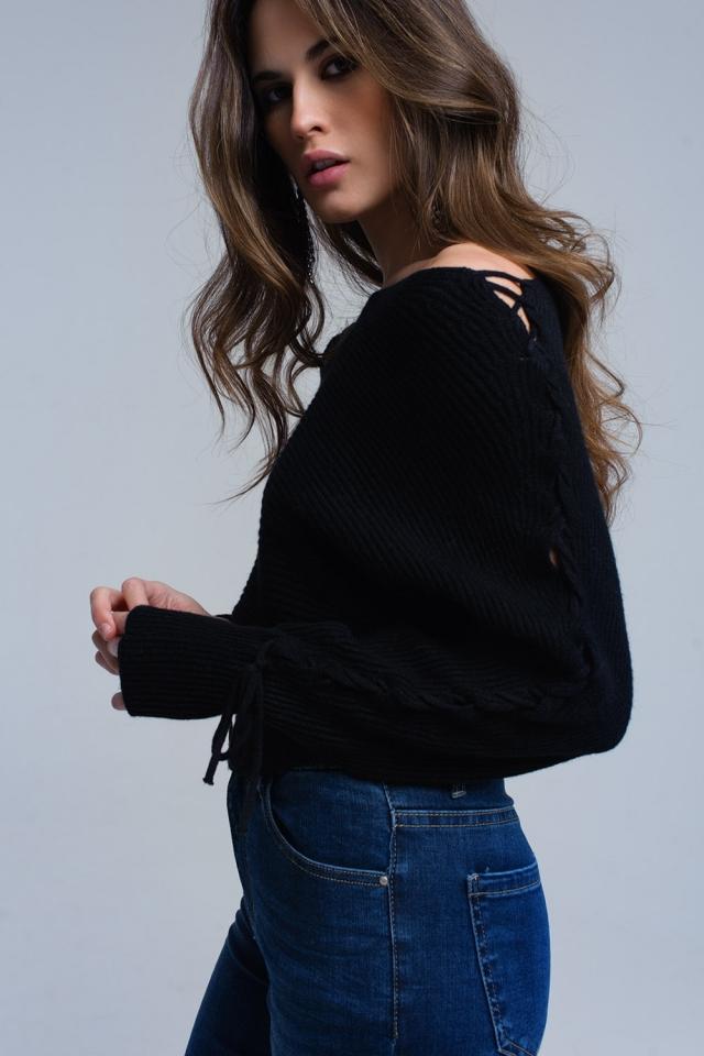 Jersey corto negro con cintas de lazo