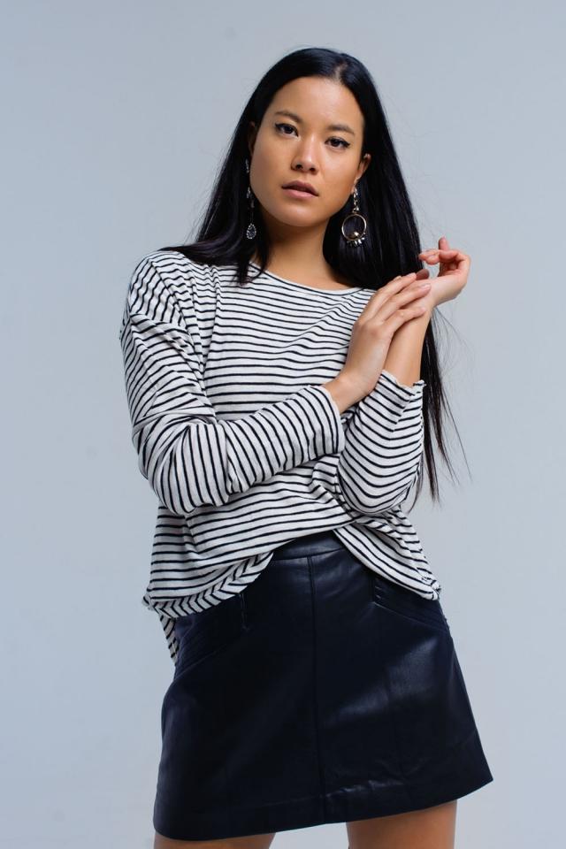Black striped asymmetric sweater