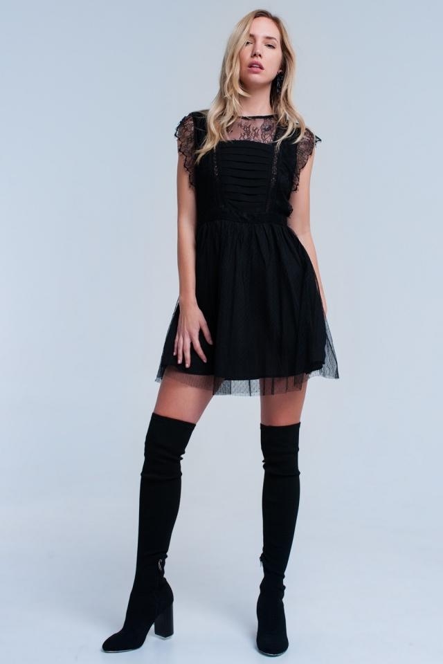 Vestido midi negro con encaje