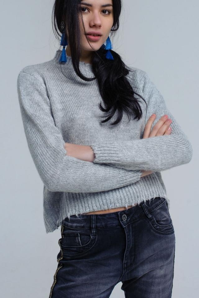 Suéter fruncido de punto gris