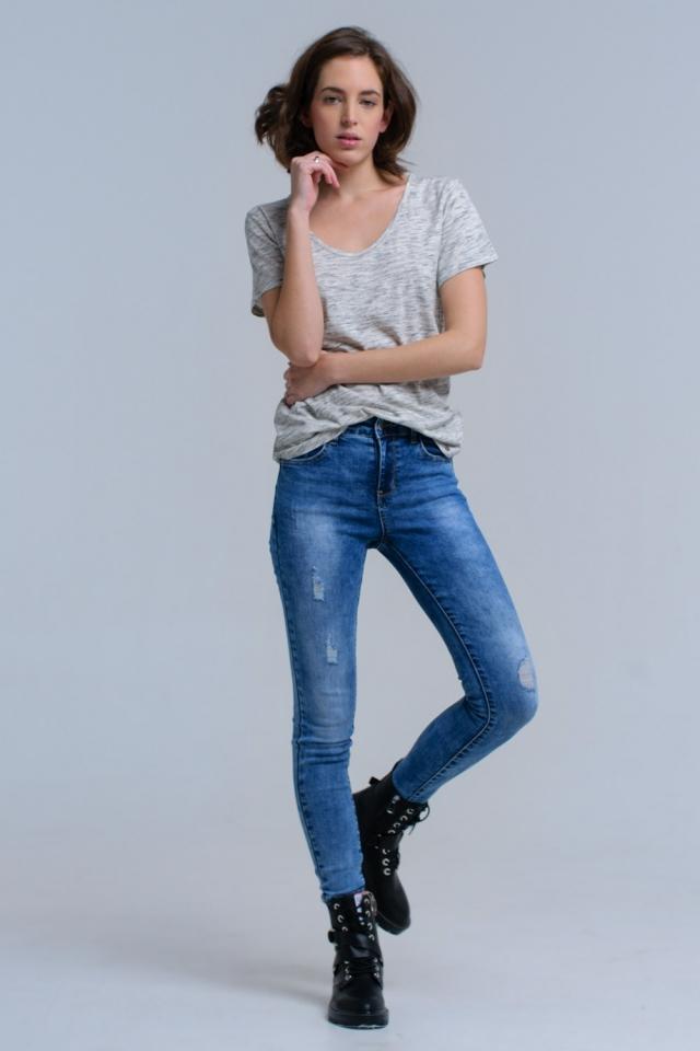 Jeans Super Skinny con rasgaduras