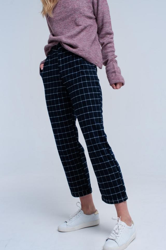 Pantalones de cuadros marino