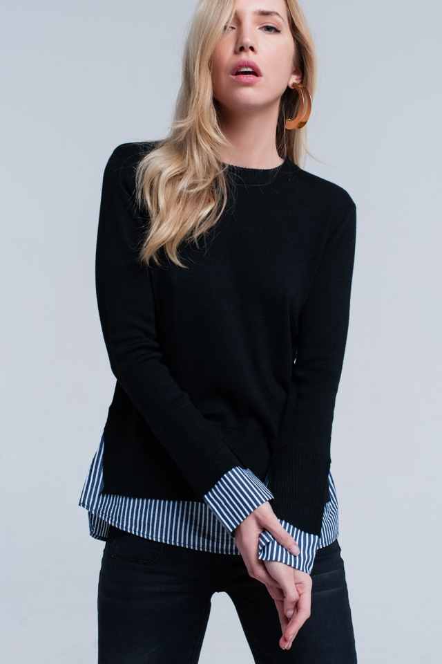Jersey de punto negro 2 en 1 con detalle de rayas