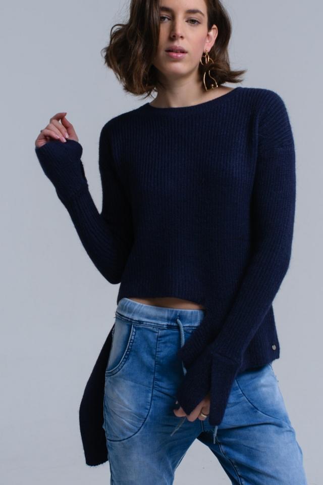Suéter asimétrico de punto azul marino