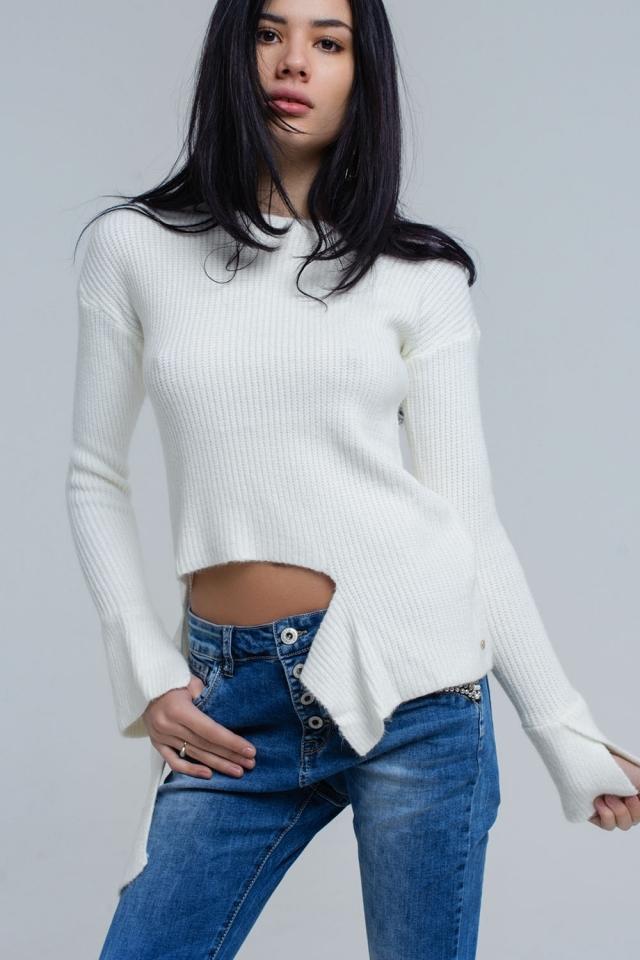 Suéter asimétrico de punto crema