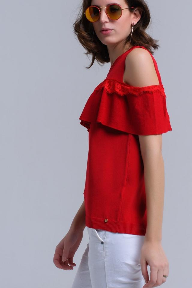 Suéter de hombro frío rojo con volante y encaje