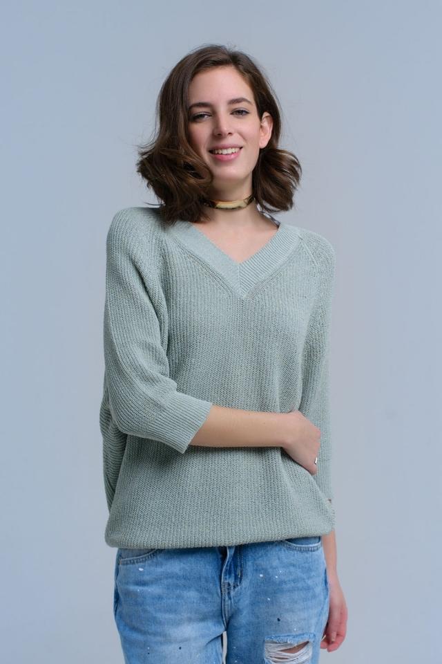 Suéter acanalado de gran tamaño en verde