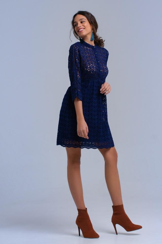 Vestido midi azul marino con croché