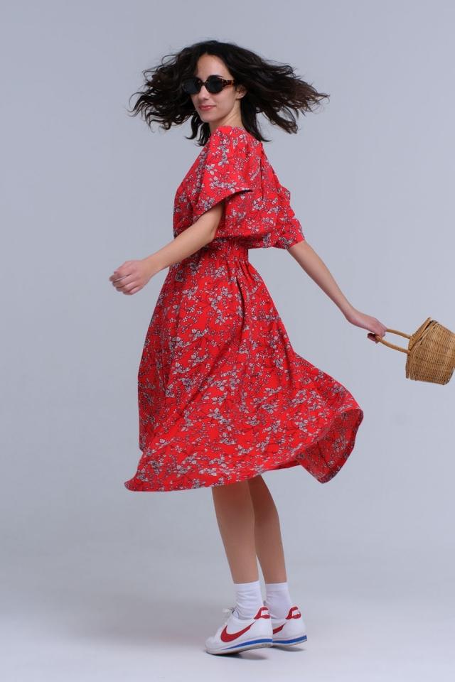 Vestido maxi rojo estampado de flores