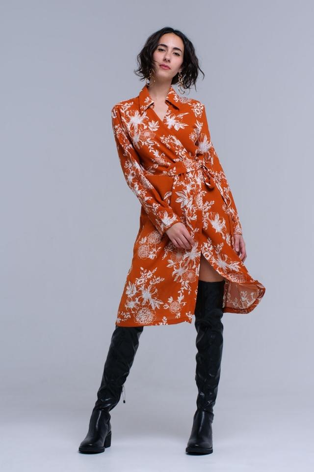 Vestido naranja cruzado estampado con flores