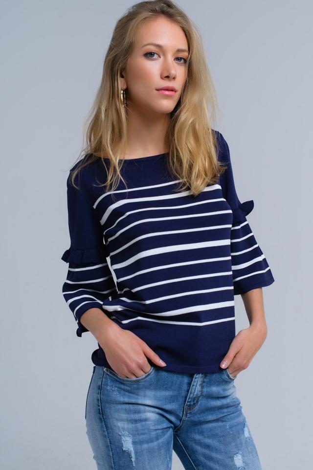 Jersey a rayas azul marino con manga de campana