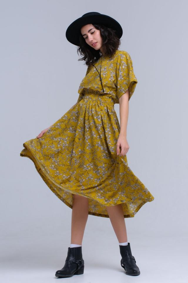 Vestido maxi amarillo estampado de flores