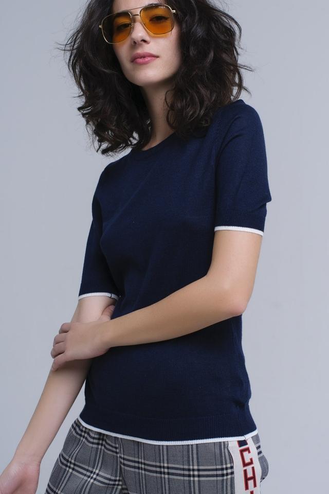 Jersey azul marino de manga corta
