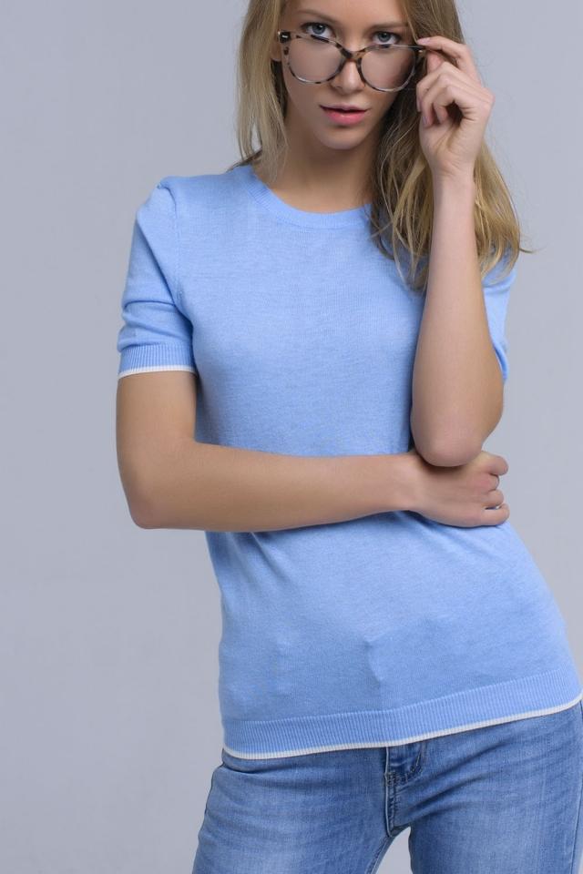Jersey azul de manga corta