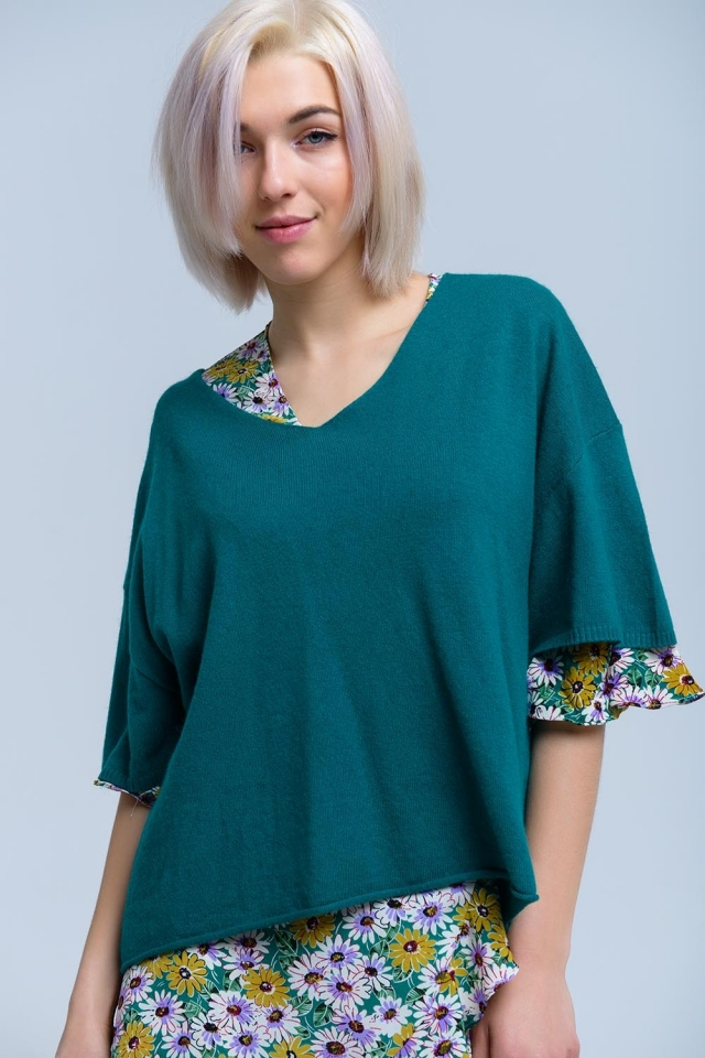 Jersey verde de manga corta