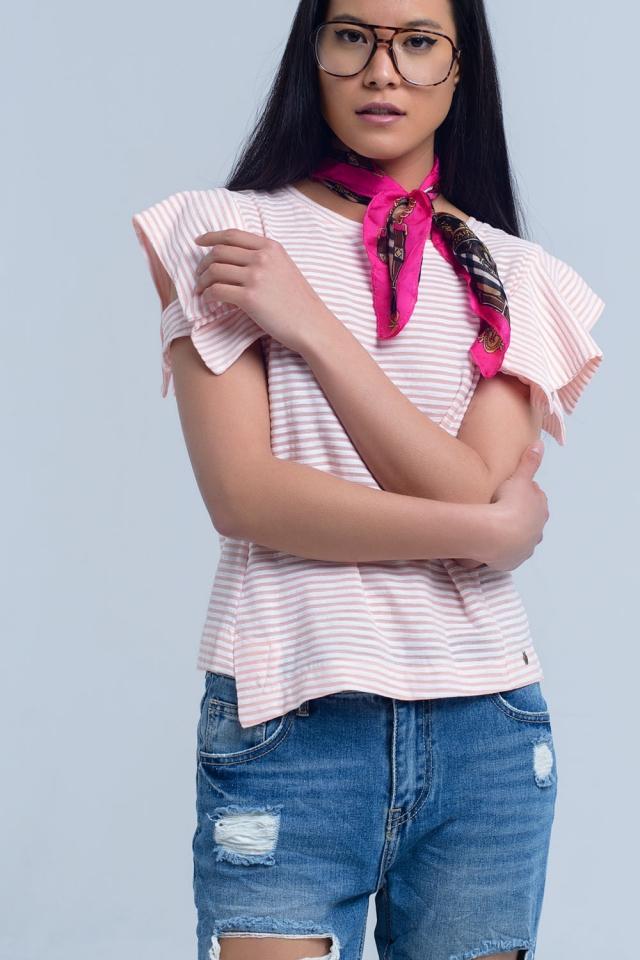 Camiseta de manga corta rosa a rayas