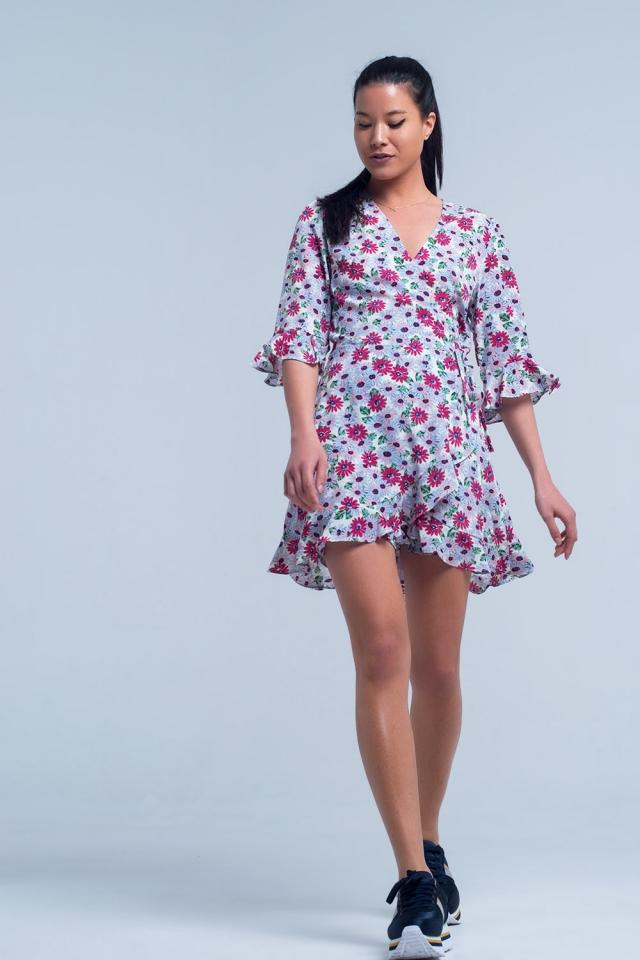 Vestido de tarde con estampado floral fucsia