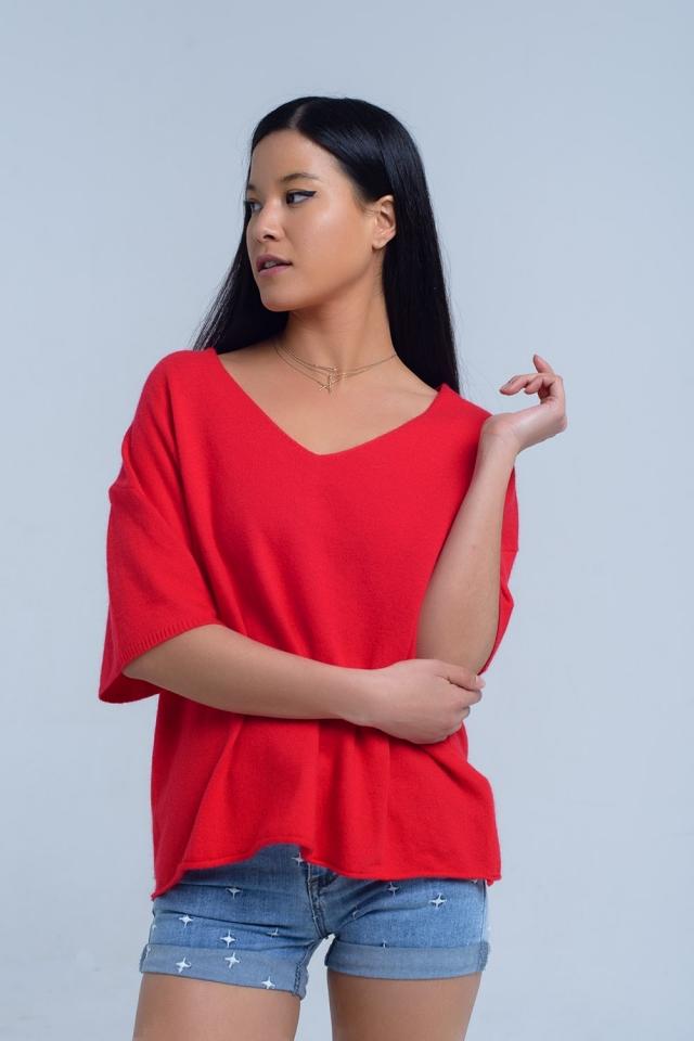 Jersey de manga corto en rojo