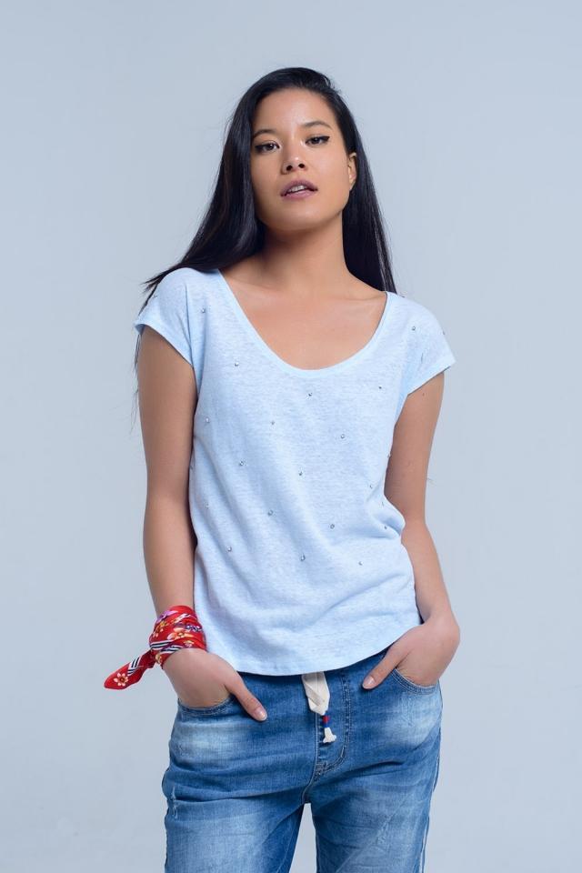 Camiseta azul con detalle de cristales
