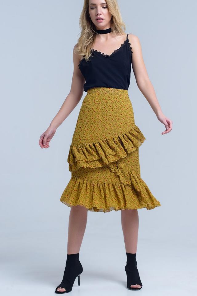 Falda estampada amarilla con volantes
