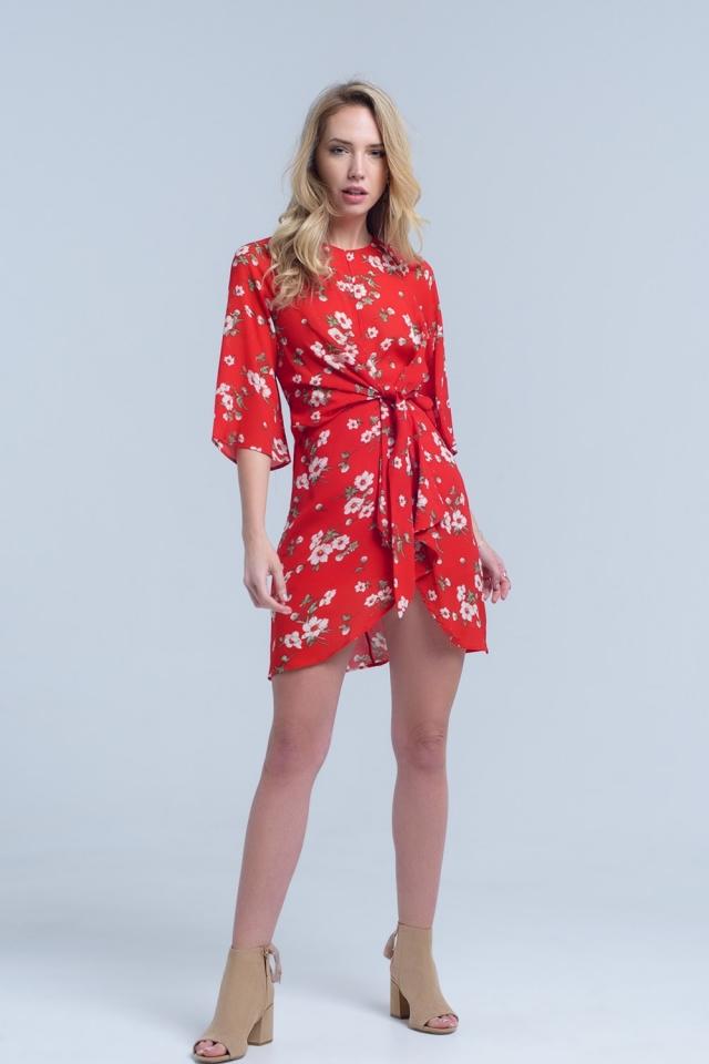 Vestido midi estampado floral rojo en gasa