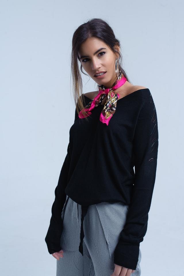 Jersey negro con tejido de punto ligero