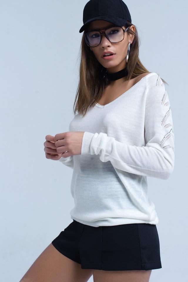 Suéter blanco en tejido de punto ligero
