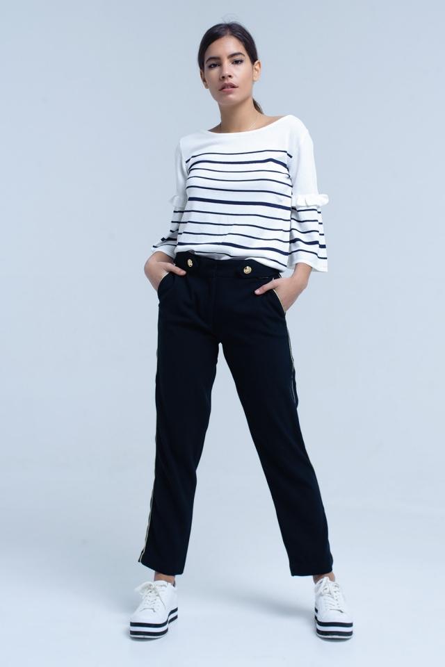 Pantalón azul marino con ribete en contraste