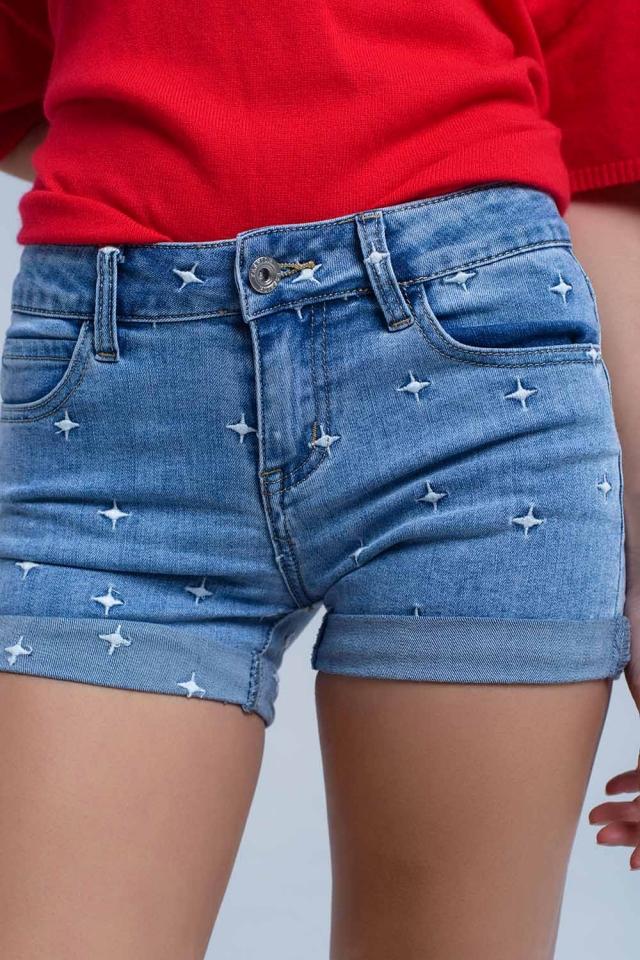 Shorts vaqueros con detalle de estrellas
