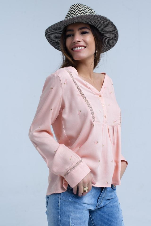 Blusa rosa con estampado de estrella fugaz