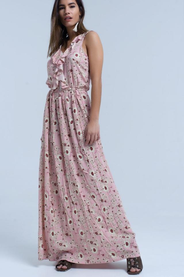 Vestido largo con estampado floral rosa y detalle de volantes