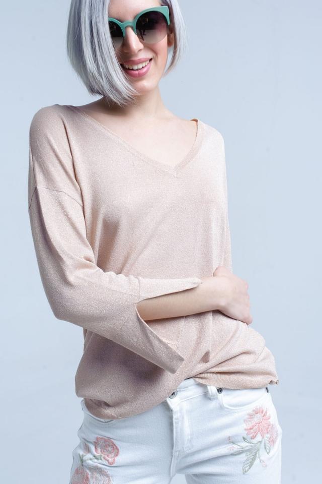 Jersey de punto rosa con detalle de lurex dorado