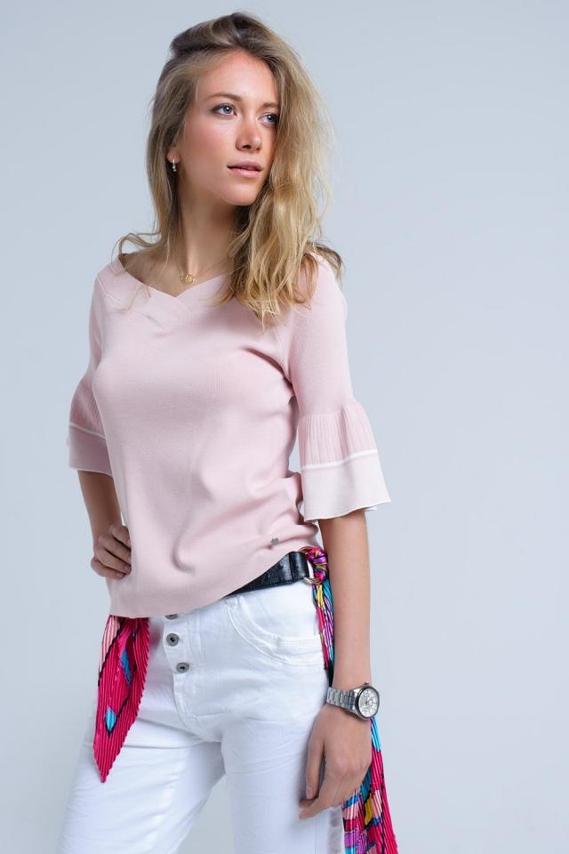 Jersey de punto rosa con manga de campana