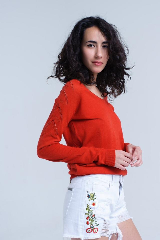 Jersey naranja en tejido de punto ligero