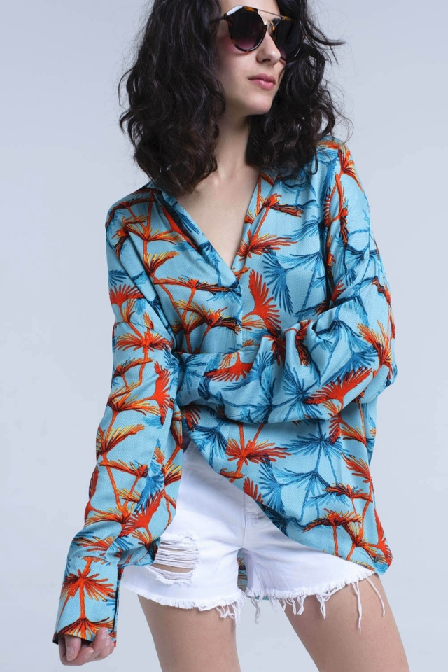 Blusa estampada oversize turquesa