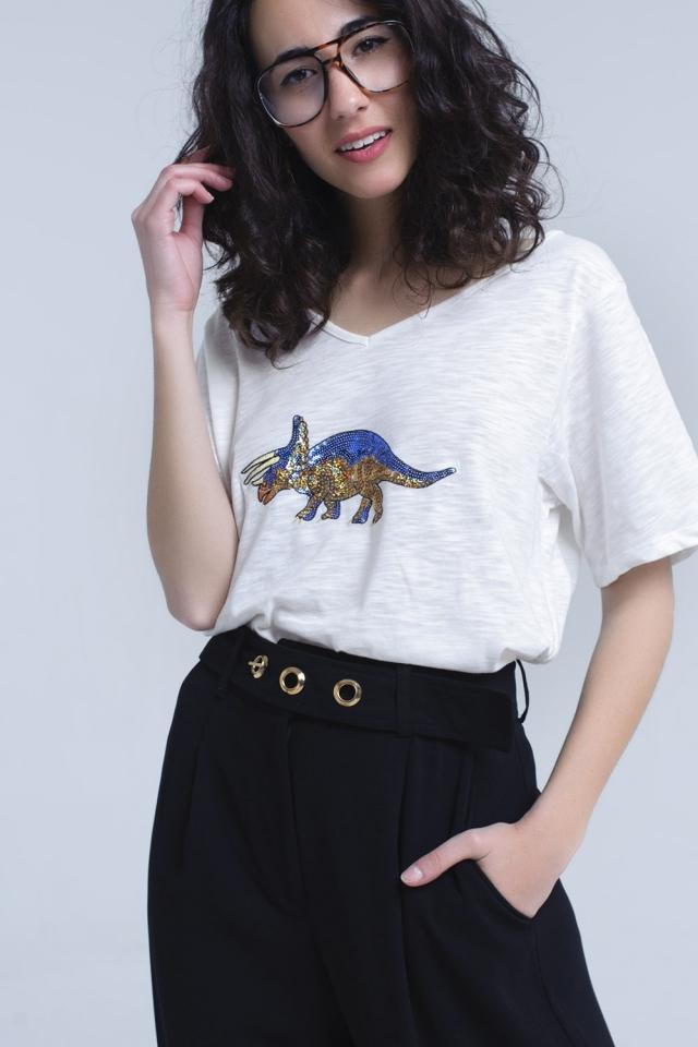 Camiseta blanca con rinoceronte en lentejuelas
