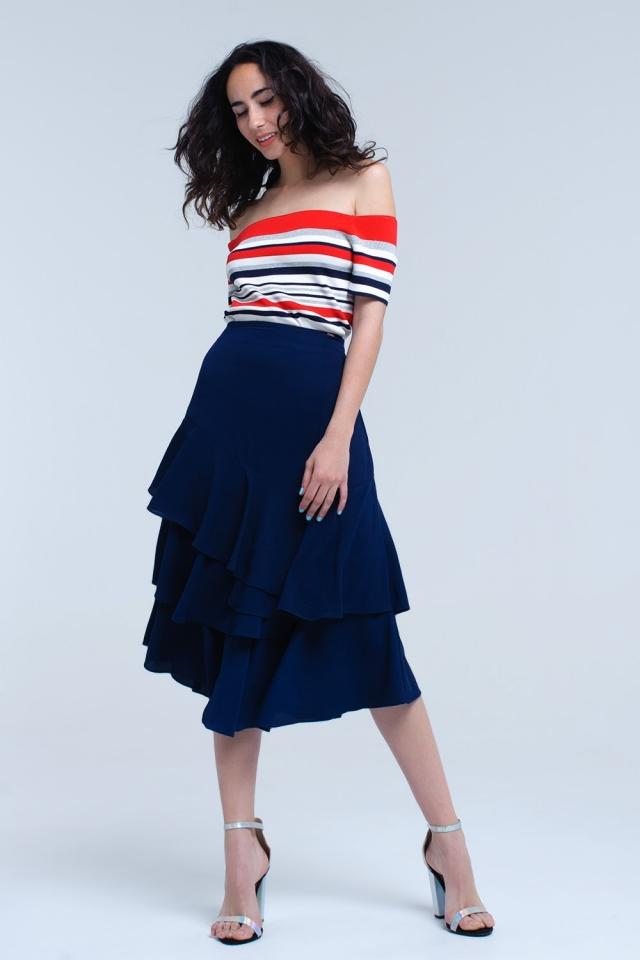 Falda midi azul marino con detalle de volantes