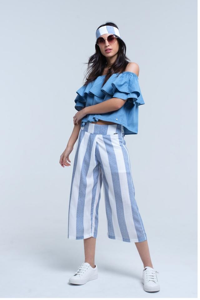 Pantalón de pernera ancha a rayas azul claro