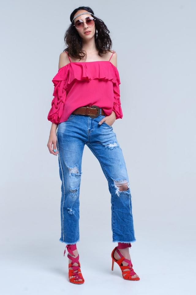 Jeans mom con rasgaduras y detalles lateral con cristales