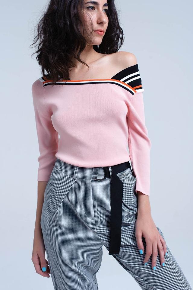 Jersey ligero rosa con rayas al contraste