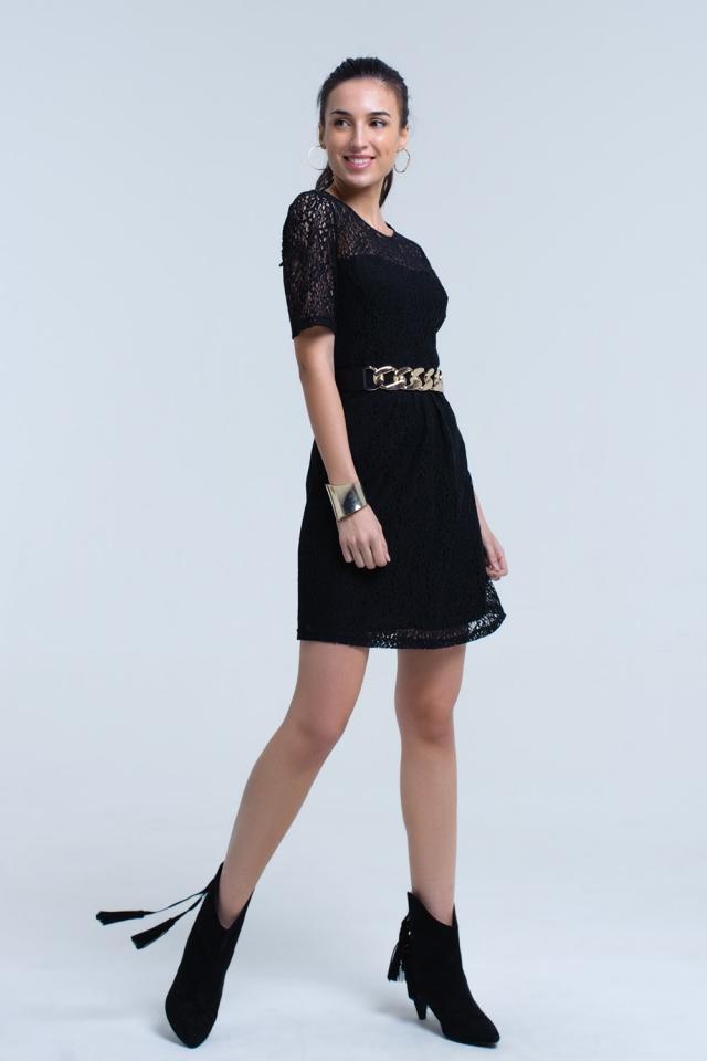 Vestido negro de encaje manga corta