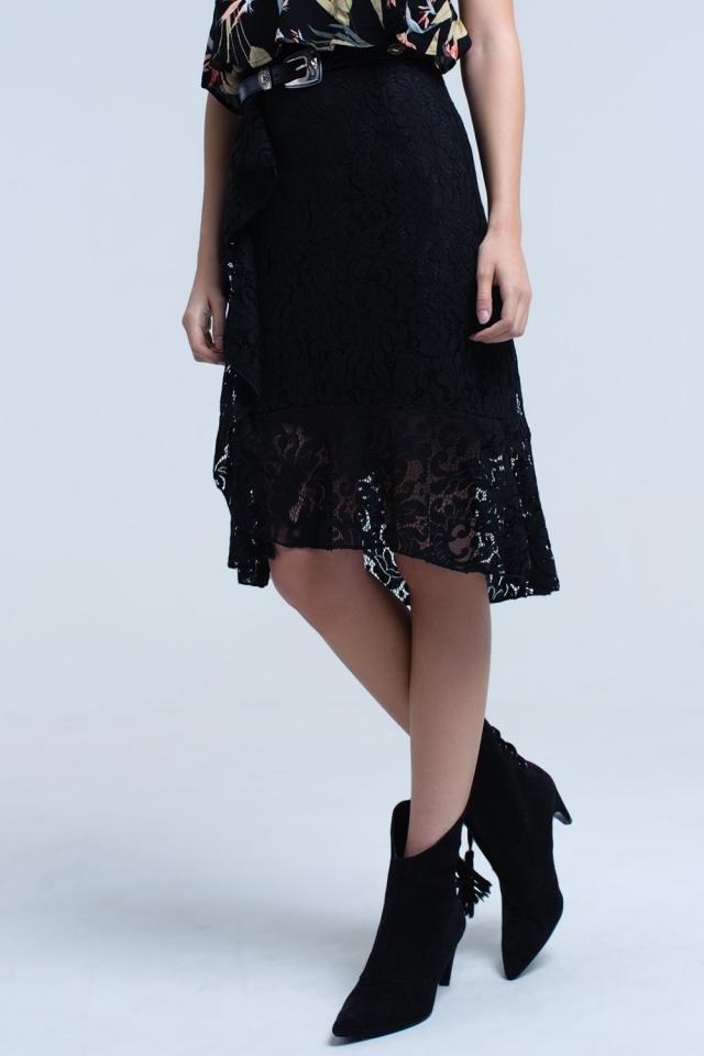 Falda midi negra de encaje y volantes