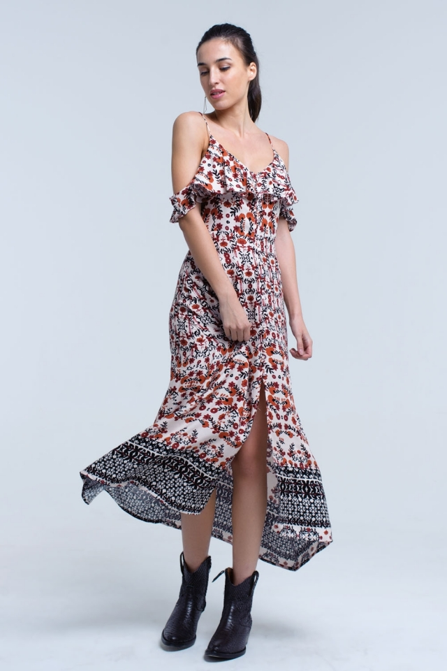vestido midi color caldera con flores