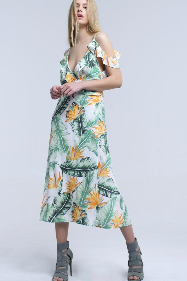 Vestido blanco midi en hojas tropicales