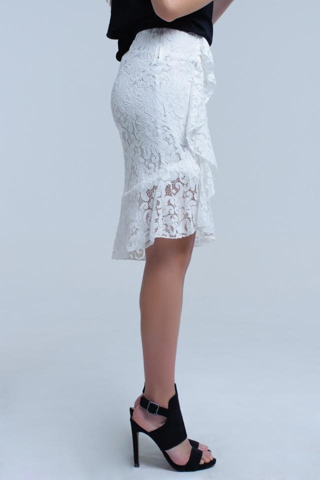 Falda midi de encaje blanco y volantes