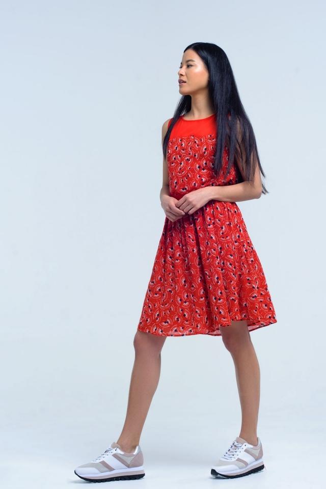 Vestido rojo con estampado geometrico con lazo